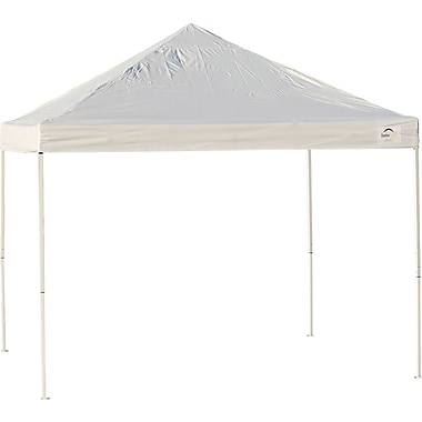ShelterLogic 10' x 10' Straight Leg Pop-up Canopy with Black Roller Bag, White Cover