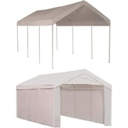 "ShelterLogic 10' × 20' Canopy, 1 3/8"" 8-Leg Frame, White Cover, Enclosure Kit"