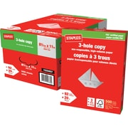 "Staples® 3-Hole Punched FSC-Certified Copy Paper, 20 lb., 8-1/2"" x 11"""