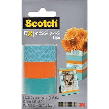 Scotch® Expressions Tape, Classic Triangle, Orange, Blue, Removable, 3/4in. x 300in., 3/Pack