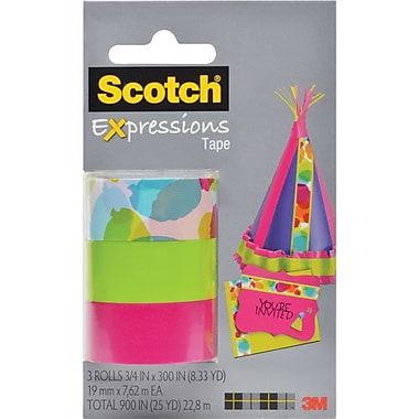 Scotch® Expressions Tape, Watercolor, Pink, Green, Removable, 3/4in. x 300in., 3/Pack