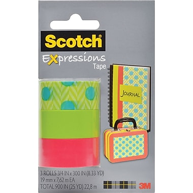 Scotch® Expressions Tape, Dots, Green, Salmon, Removable, 3/4in. x 300in., 3/Pack