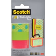 Scotch® Expressions Tape, Dots, Green, Salmon, Removable, 3/4 x 300, 3/Pack