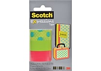 Scotch® Expressions Tape, Dots, Green, Salmon, Removable, 3/4' x 300', 3/Pack