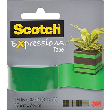 Scotch Exoressions Magic Tape, Dark Green, Removable, 3/4in. x 300in.