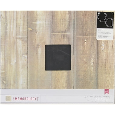 American Crafts Patterned D-Ring 12in. x 12in. Album, Brown Faux Wood