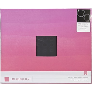 American Crafts Patterned D-Ring 12in. x 12in. Album, Pink Ombre