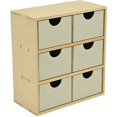 Kaisercraft Beyond The Page MDF 6-Drawer Tall Unit, 8.5in. x 9.5in. x 4.25in.