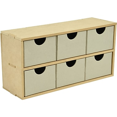 Kaisercraft Beyond The Page MDF 6-Drawer Wide Unit, 12.5in. x 6.25in. x 4.25in.