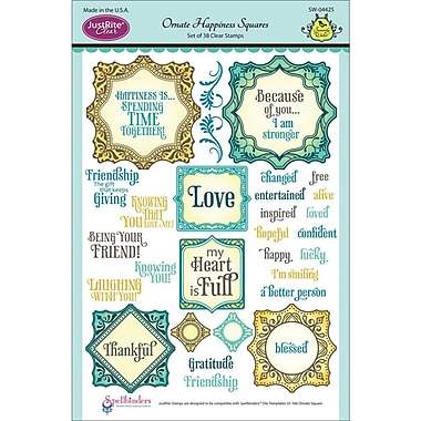 JustRite Stampers 6in. x 8in. Clear Stamp Set, Ornate Happiness Squares
