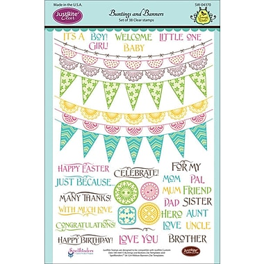 JustRite Stampers 6in. x 8in. Clear Stamp Set, Buntings and Banners