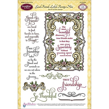 JustRite Stampers 6in. x 8in. Clear Stamp Set, Good Friends Labels Twenty