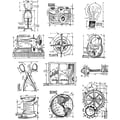Stampers Anonymous Tim Holtz Large Cling Rubber Stamp Set, Mini Blueprints 3