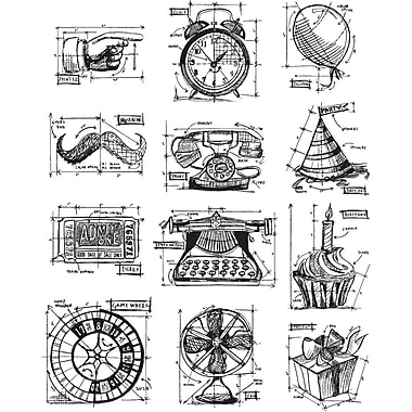 Stampers Anonymous Tim Holtz Large Cling Rubber Stamp Set, Mini Blueprints 4