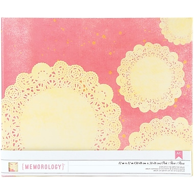 Crate Paper Maggie Holmes Signature Cloth D-Ring Album, 12in. x 12in., Pink With Doily Print
