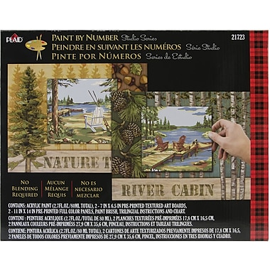 Plaid Craft Paint By Number Studio Set, 11in. x 14in., Lakeside Forest