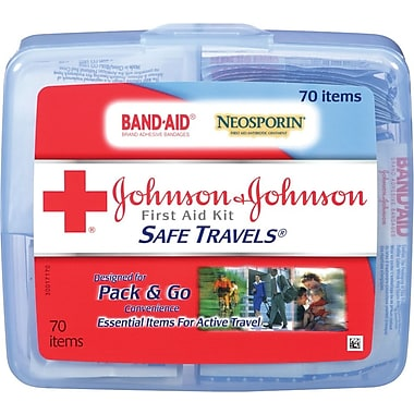 Johnson & Johnson® 70 Piece Safe Travels Portable Travel First Aid Kit, Plastic Case