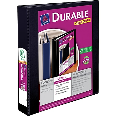 Avery Durable 1.5-Inch Slant D 3-Ring View Binder, Black (17021)