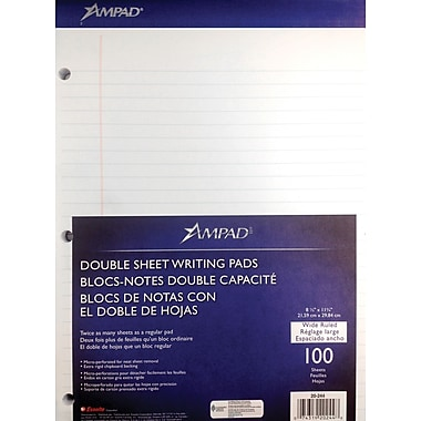 Ampad® Evidence® Dual-Pad® 8-1/2in. x 11-3/4in., White, Notepad, Legal Ruled