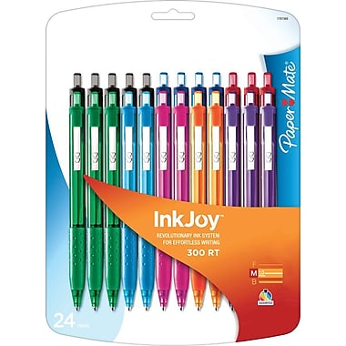 Paper Mate® InkJoy™ 300 Ballpoint Retractable Pens, Medium, Assorted, 24/Pack