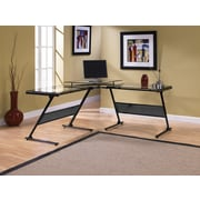 Z-Line Designs Delano Metal Computer Desk, Black Clear
