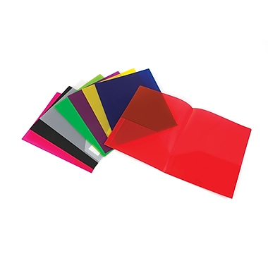 Staples® 2-Pocket Translucent Poly Folder, Assorted Colors