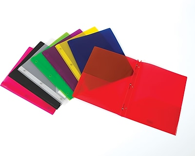 Staples 2 Pocket Translucent Poly Folder with Fasteners Assorted Colors
