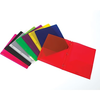 Staples® 2-Pocket Translucent Poly Folder with Fasteners, Assorted Colors