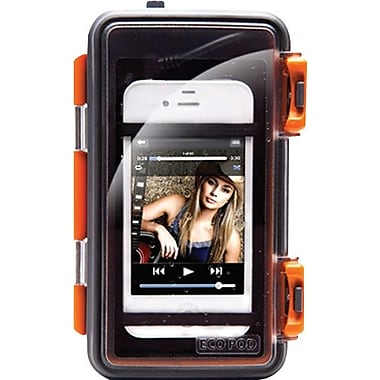 Grace Digital Eco Pod Rugged All-Terrain Waterproof Clear Panel Audio Case, Orange