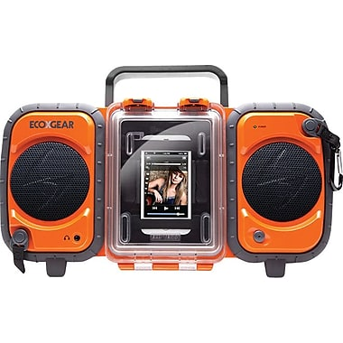 Grace Digital Eco Terra Rugged Waterproof Audio Case/Boombox for iPhone and MP3 Players, Orange
