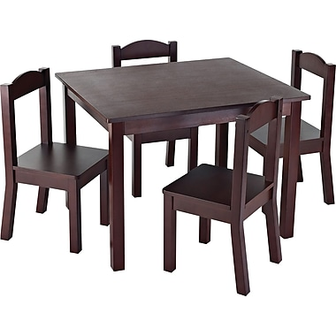 Tot Tutors Children Table & 4 Chairs, Espresso Colour