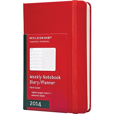 Moleskine 2014 Weekly Planner+Notes, 12M, Pocket, Red, Hard Cover, 3-1/2in. x 5-1/2in.