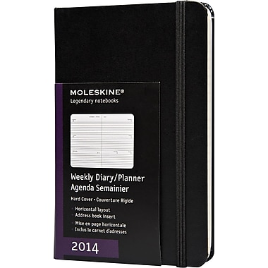 Moleskine 2014 Weekly Planner, Horizontal, 12M, Pocket, Black, Hard Cover, 3-1/2in. x 5-1/2in.