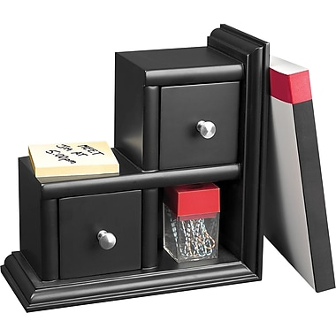 Victor® Wood Desk Accessories Reversible Bookend, Midnight Black