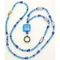 Ashley® Identification Holder and Beaded Lanyard, Aqua Blue