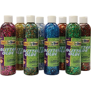Chenille Craft® Assorted Glitter Chip Glue, 8 oz.
