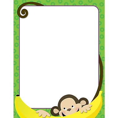 Creative Teaching Press Monkey Around Computer Paper 11in. x 8.5in., Green/White (CTP7122)