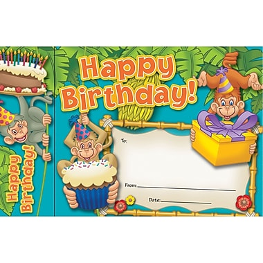 Edupress® Happy Birthday Monkeys Bookmark Award, Grades preschool - 6th