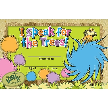 Eureka® The Lorax Project™ Recognition Award, I Speak For the Trees