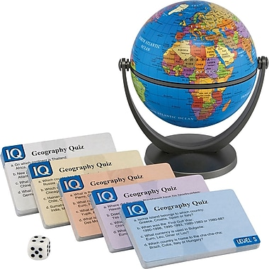 Round World Products IQ Quiz Political Mini Globe, Grades All