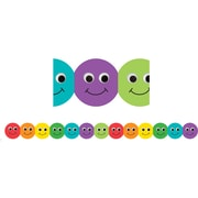 "Hygloss HYG33610 36"" x 3"" Scalloped Smiley Faces Classroom Borders, Multicolor"