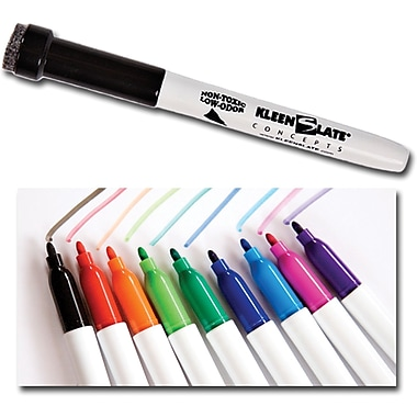 KleenSlate Medium Point Dry-Erase Marker, Assorted, 10/Pack