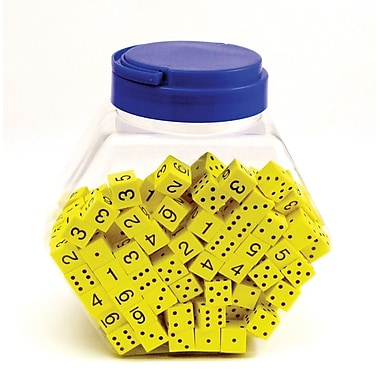 Koplow Games 16 mm Foam Dice Tub Of 200 Yellow Spot & Number, Grades Pre-School - Kindergarten+