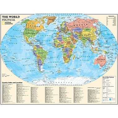 National Geographic Maps Political Series World Map, Grades 4th - 12th
