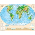 National Geographic Maps Physical Series World Map, Grades 6th - 12th