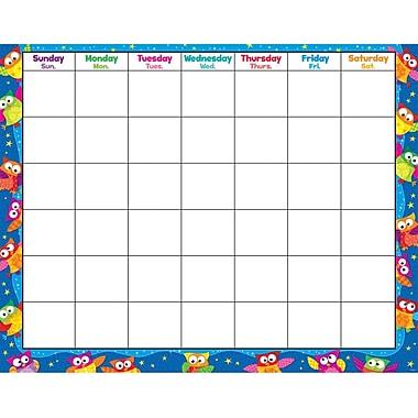 Trend Enterprises® Owl Stars!™ Monthly Wipe Off® Calendar, Blank
