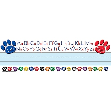 Teacher Created Resources TCR4040 Colorful Paw Prints on Left and Right with Alphabets Name Plate