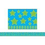 Teacher Created Resources® Infant- 12th Grades Straight Border Trim, Lime Stars on Blue