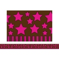 Teacher Created Resources® Infant- 12th Grades Straight Border Trim, Pink Stars on Brown