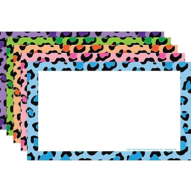 Top Notch Teacher Products® 3in. x 5in. Border Index Card, Blank Multi Colored Leopard